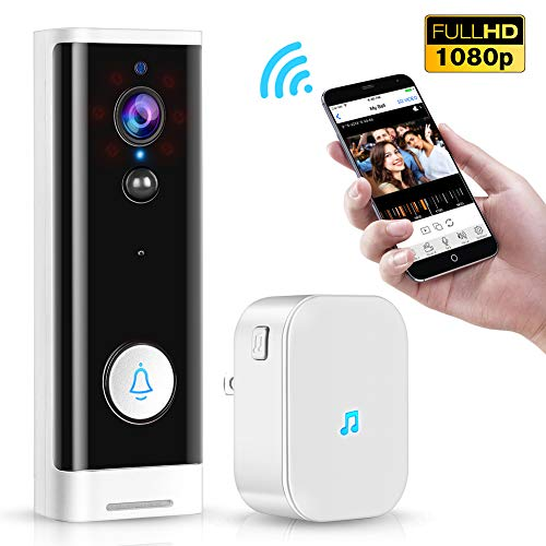 WiFi Video Doorbell, TOMLOV 1080P Wireless Smart Door Bell with Dingdong, 2-Way Talk, PIR Motion Detection, Night Vision, 4400 mAh Batteries, Secure Local SD Card Storage, TuyaSmart APP