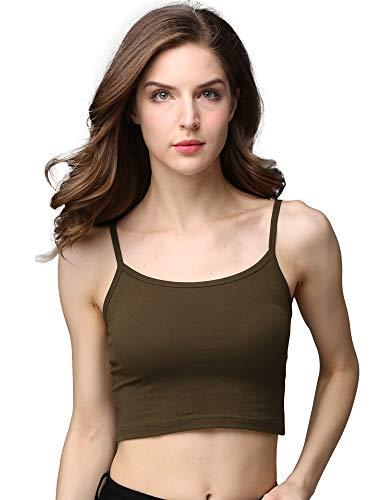 cunlin Crop Top Cami Camisole Summer Women Sexy Slim Sleeveless Spaghetti Strap Tank Top Army Green M