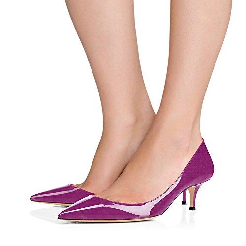 Cuir Femmes EKS Chaussures Travail Party Pourpre Talon Toe Pompes Pointu Pompes Verni Chaton en 6CM Robe de z4dq4wS