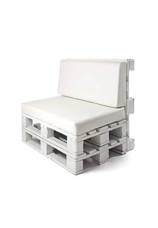 SERMAHOME Colchoneta y Respaldo para Sofas de Palet. Cojines Rellenos de Espuma para Sofa de Exterior. Color Blanco | Cojines de Sofa Chill out, ...