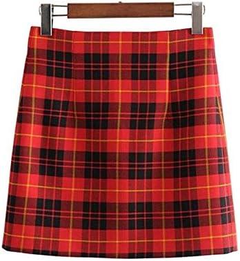 ZYSDHZ Falda A Cuadros Minifalda A Cuadros Roja para Mujer Falda ...