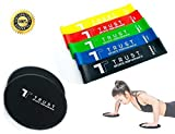 2 Professional Core Sliders & 5 Resistance Bands Set (Carry Bag Included) - Home Gym Fitness for Ab Workout and Full Body Exercises - Exercise Routine Included | Unique Gift |