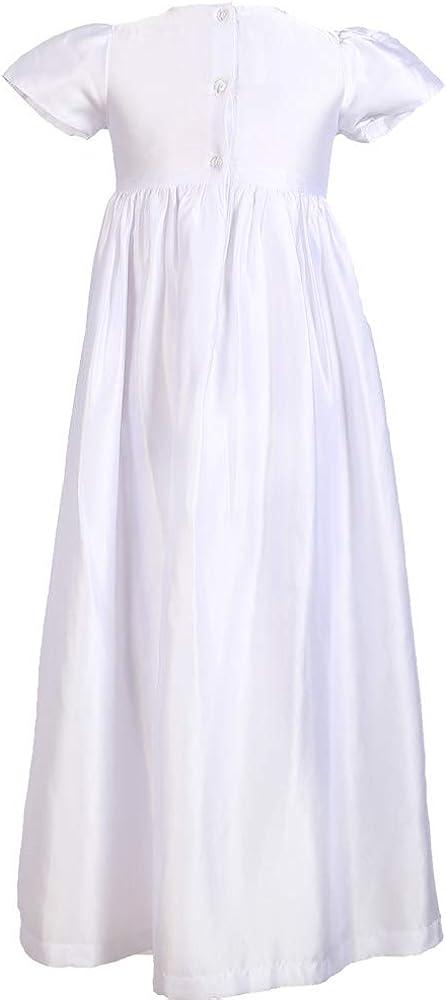 Baby Girls Baptism 3PCS Set Satin Gown, Lace Mesh Dress, Bonnet 0-12 Months