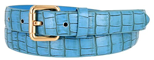 Embossed Leather Belt Buckle - 7075 Women's Skinny Alligator Embossed Leather Casual Dress Belt (Blue, XX-Large)