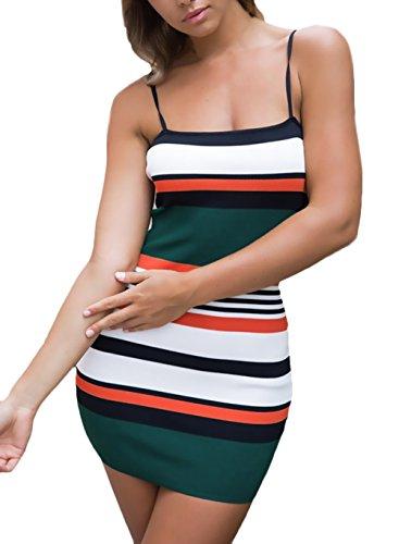 Sommerkleider Damen Kurz Elegant Gestreift Bandeau Kleid Festlich Bekleidung Dresses Trägerlos Rückenfrei Etuikleid Minikleid Casual Mode Partykleider Grün uFNFHwy0L