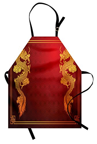 (Ambesonne Dragon Apron, Chinese Heritage Historical Asian Eastern Motif with Legendary Creature Design, Unisex Kitchen Bib Apron with Adjustable Neck for Cooking Baking Gardening, Orange)