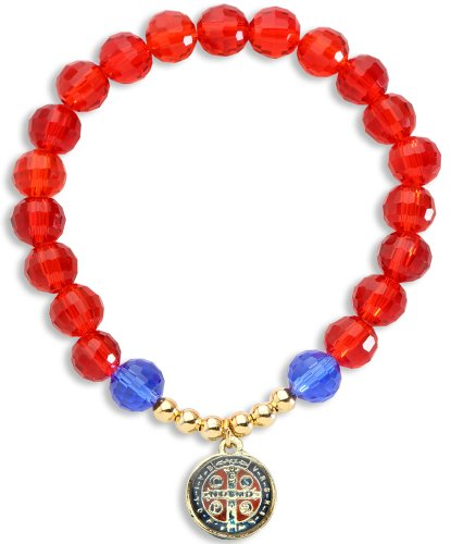 """Saint St Benedict 1/2"""" Medal Catholic Bracelet with Red/Blue Glass Crystal Beads"""