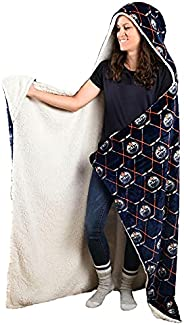 NHL Edmonton Oilers Super Soft and Warm Sherpa Hooded Wearable Throw Blanket (50x70)