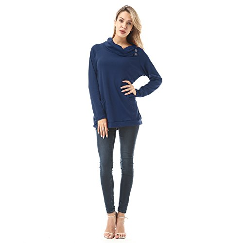 Down Womens Raglan Hoodie (FISOUL Womens Hoodies Long Sleeve Button Cowl Neck Casual Slim Tunic Tops With Pockets Blue S)