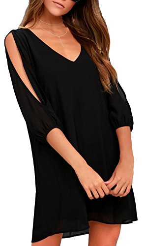 black dress with cutout sleeves - 6