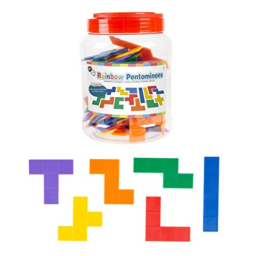 (Hey! Play! Rainbow Pentominoes-72Piece Set Bright Colorful Scored Plastic Tile Puzzle with Storage Case-Fun Educational Stem Activity for Kids)