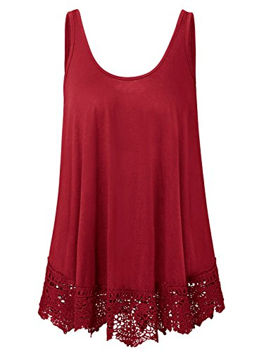 Womens Plus Size Summer Swing Lace Flowy Tank Tops (Wine Red, 3X) (Red Tops Plus Size)