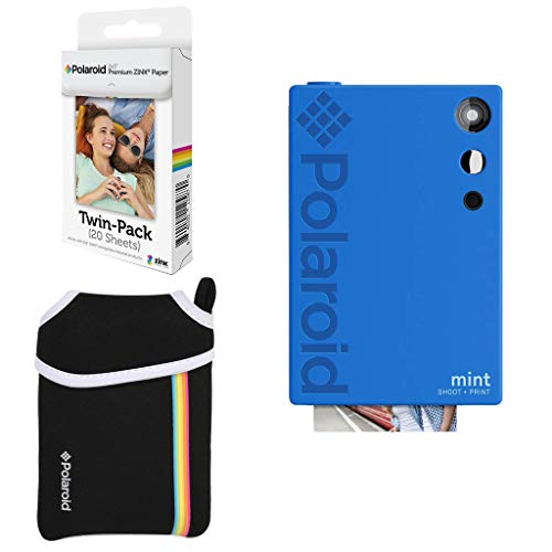 Polaroid Mint Instant Digital Camera (Blue) Basic Bundle + Paper (20 Sheets) + Deluxe Pouch