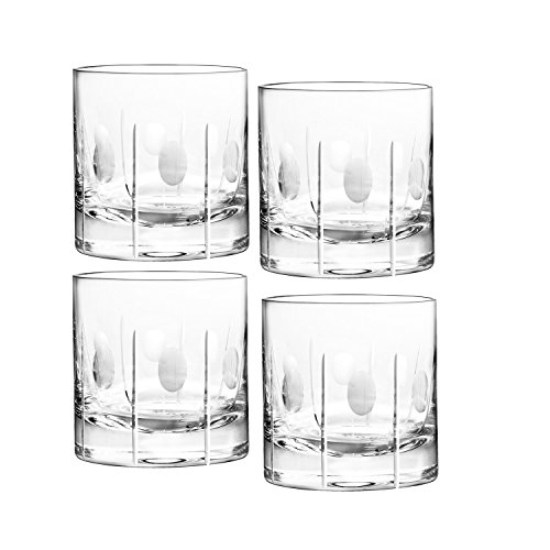 """Qualia Glass 3.75-Inch """"Gulfstream"""" Double Old Fashioned High Glasses with Vertical Cuts and Circular Design, 9-Ounce, Set of 4"""