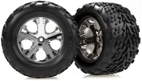 Traxxas 3669 Front Chrome All-Star Wheel with Talon Tire, Stampede, 2-Piece [並行輸入品]