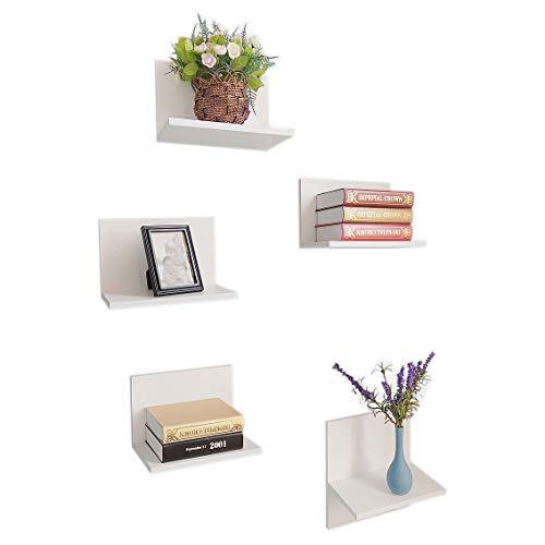 HAO ALWAYS DO BETTER Set of 5 Spine Floating Wall Shelves,Wide Column Shelf,Mounted Book Shelves White