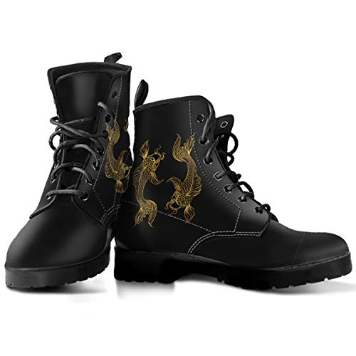 (Pisces Zodiac Lace-up Leather Boots for Men and Women - Fish Lover Gift (Men's US 9.5 (43 EUR)) Black)