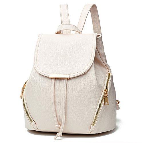 Fashion School Leather Backpack Shoulder Bag Mini Backpack for Women & Girls,White2 ()