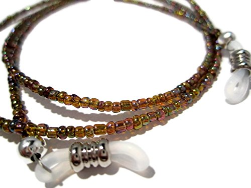 ATLanyards Rainbow Brown Seed Bead Eyeglass Holder - Beaded Eyeglass Chain