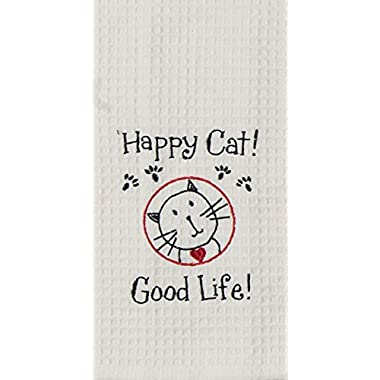 Kay Dee Designs F0784 Happy Cat Embroidered Waffle Towel