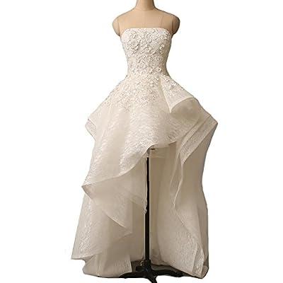 Kivary Strapless Lace Ruffles Asymmetrical High Low Beaded Prom Wedding Dresses
