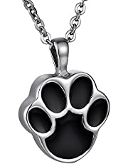 COCO Park Round Pet Paw/Dog Paw Stainless Steel Ash Pendant Cremation Jewelry Urn Memorial Necklace Keepsake with Engraving