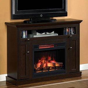 Attirant Windsor Oak Espresso Infrared Electric Fireplace Media Cabinet    23DE9047 PE91