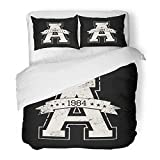 Emvency Bedding Duvet Cover Set Queen (1 Duvet Cover + 2 Pillowcase) Graphic Sporty Varsity in Girl College Vintage Retro Tee Jersey Badge Hotel Quality Wrinkle and Stain Resistant