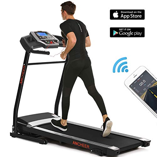 ANCHEER Treadmill, Folding Electric Treadmills, Motorized Running Treadmills with Rolling Wheels