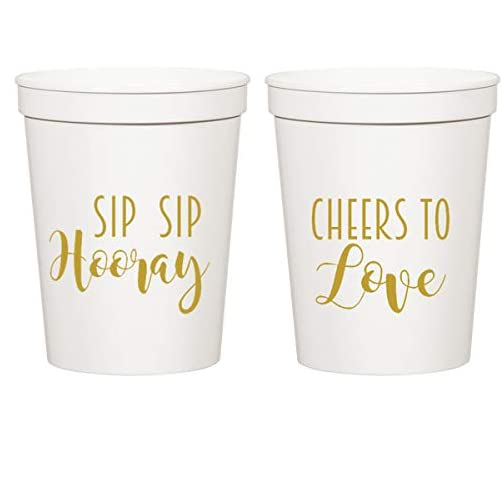 Everyday White Plastic Stadium Cups - Sip Sip Hooray, Cheers to Love |