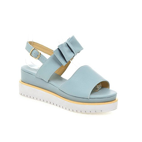 Heels PU Blue VogueZone009 Sandals Kitten Toe Open Women's Solid Buckle qAW0OIwA