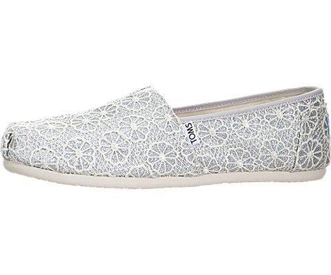 9a48d867813 TOMS Women s Crochet Classics Silver Crochet Glitter Loafer 7 B (M) - Buy  Online in UAE.