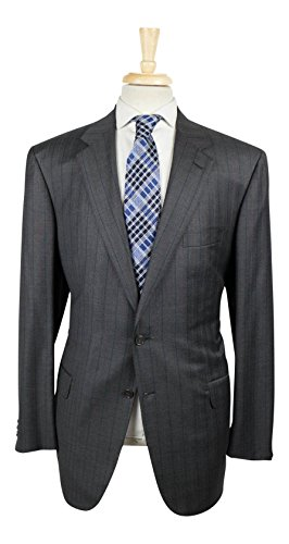 Brioni Wool Suit (BRIONI Parlamento Gray Striped Wool Blend 2 Button Suit Size 56/46 R)