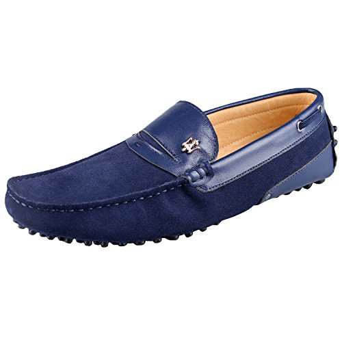 Santimon Mens Nubuck Leather Driving Working Moccasins Loafer Shoes Darkblue DZW3A
