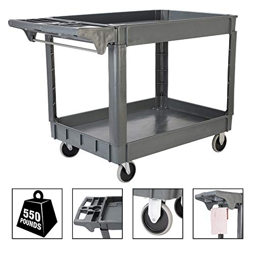 - TUFFIOM Plastic Service Utility Cart, Support up to 550lbs Capacity, Heavy Duty Tub Storage Cart W/Deep Shelves, Multipurpose Rolling Extra Large 2-Tier Mobile Storage Organizer, for Warehouse Garage