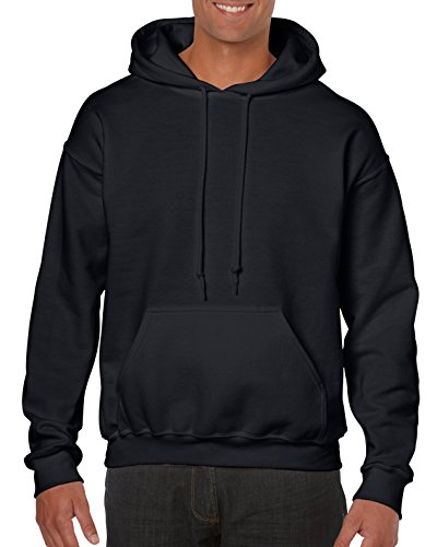Gildan Men's Heavy Blend Fleece Hooded Sweatshirt G18500, Black, Large (Hoodie Pullover Thermal Mens)