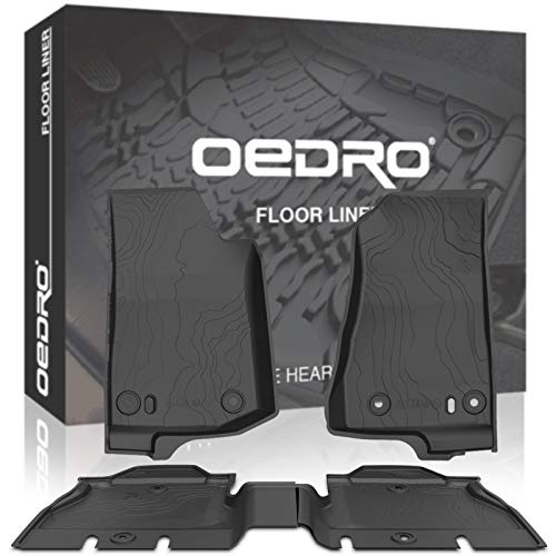 OEDRO Floor Mats Compatible for 2018-2021 Jeep Wrangler JL JLU 4-Door, Black TPE All Weather Guard, 1st & 2nd Row Custom Fit Full Set Liners