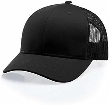 e4f9b6e1872 Amazon.com  Richardson Black 112 Mesh Back Trucker Cap Snapback Hat   Clothing