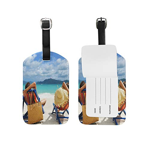 FunnyCustom Luggage Tags Vacation Relax Couple Man Woman Boy Girl People Be by FunnyCustom