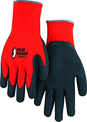 Majestic 3396H0 (Large) Hi Vis Orange Polar Penguin Winter Terry Lined Knit Gloves Foam Latex Dipped Palm For Great Grip and Dexterity. Tough and Durable, Great for Cold Weather! Excellent Wear and Resistance, Super Fit (Large, Hi Viz Orange)