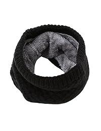 Kingfansion Man Women Winter Warm Scarf Knitted Collar Scarf Bufanda Thickness (Black)