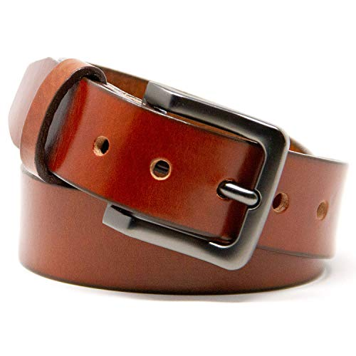 Logical Leather Men's Belt - Heavy Duty Genuine Leather (Cognac)