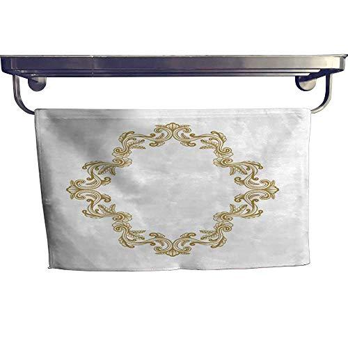 Absorbent Towel Hand Drawn Vintage damask ornamental elements for design Golden Baroque square frame scroll ornament Retro Elegant floral pattern border in antique style Towel W 12
