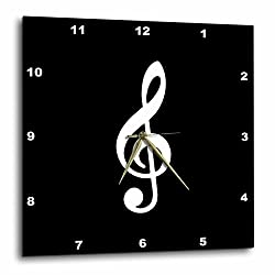 3D Rose Treble Notation-G Clef Musical Note Musician Gift Wall Clock, 13 x 13, Black