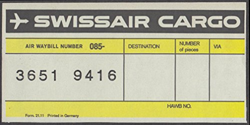 Swissair airline cargo sticker unused Form 21.11 undated