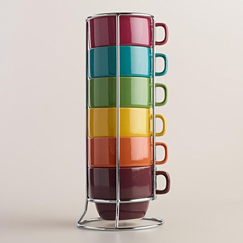 Fall Rainbow Colors Stacking Ceramic Coffee Mugs Set and Chrome Rack