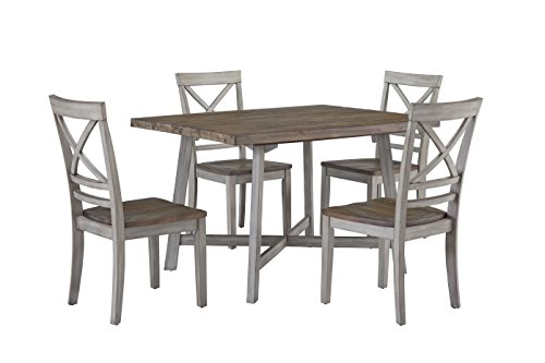 Cheap Standard Furniture Fairhaven Dining Table and Four Chairs Set, Distressed Reclaimed Oak Plank Top, Grey Base