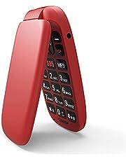 Ukuu Draagbare telefoon, 1,8 inch (4,6 cm), Dual SIM, SOS-knop, ontgrendeld, telefoon, senior, met grote toetsen, GSM, 800 mAh, batterij, hoge capaciteit, telefoon, Senior Rosso