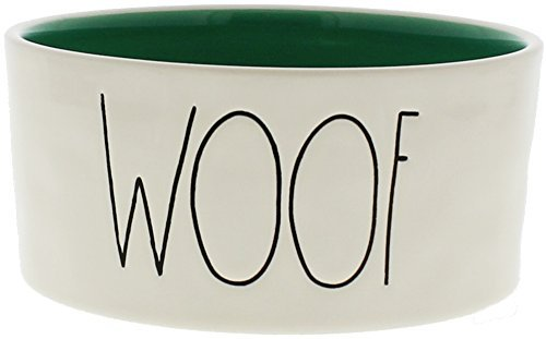 Cheap Rae Dunn WOOF Large 6″ Ceramic Dog Bowl – Blue Inside