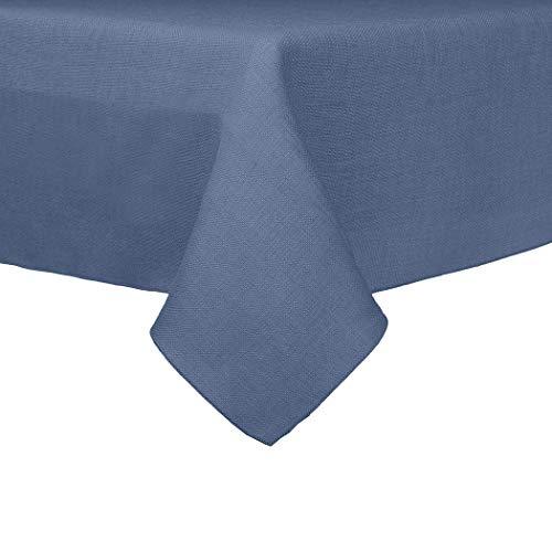 Ultimate Textile -10 Pack- Faux Burlap - Havana 60 x 120-Inch Rectangular Tablecloth - Basket Weave, Slate Blue -